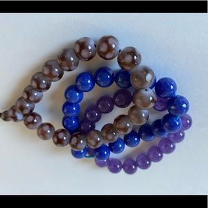 Jewelry - Set of 3 Marble Elastic Bracelets Brown/Blu/Purple